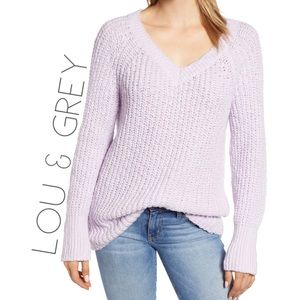 NWT Lou & Grey chunky lilac V-neck sweater L 0221